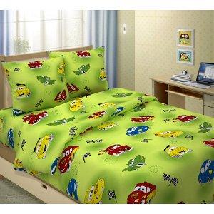 Детский комплект в кроватку Машинки, цвет зеленый (ТТ 399-2)