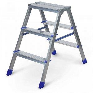 """Стремянка цельнометаллическая """"Ника"""" h68см, 3 ступени, высота до верхней площадки 2,90см, 2-х сторонняя, широкие ступени, облегченная конструкция, рифленая поверхность, нагрузка до 150кг, вес 3,8кг (Р"""