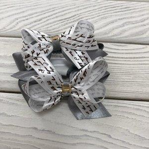 Резинка Серый + кремовый + коричневый письмо