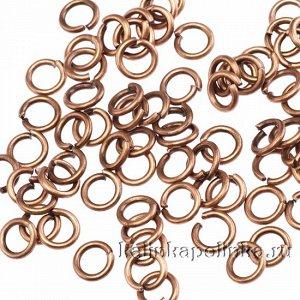 Колечки соединительные разъёмные, железо, цвет медь, р-р 4х0.7мм, в 5 гр. около 120 шт.