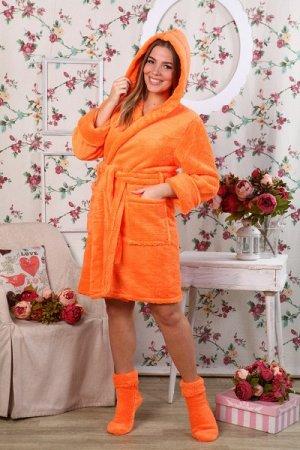 Халат велсофт короткий капюшон хв-0022 оранж