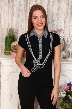 Рубашка-блуза  вискоза Б -276- чёрная