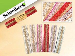 Декоративая тесьма,материал- текстиль с кружевом, 3 см х 2,7 м., 6 цветов в ассортименте