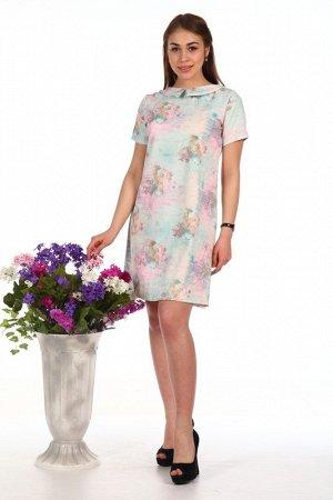 Платье Состав - Жаккард (100%  п/э). Привлекательное и элегантное коротенькое женское платье светло-мятного цвета с цветочным принтом, отложным воротником и короткими рукавами.
