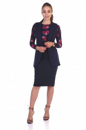Костюм Состав - Милано (65% вискоза, 30% пэ, 5% лайкра). Классический костюм, состоящий из удлиненного приталенного жилета с отложным воротником с лацканами и юбки карандаш, с небольшой шлицей по зад