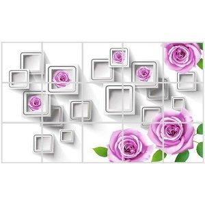 """Наклейка на кафельную плитку 45*75см """"Розы с геометрией"""""""
