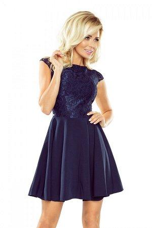 Платье NUMOCO 157-1  Расклешенное элегантное платье с кружевом и короткими рукавами. Кружевной узор на фото может отличаться от