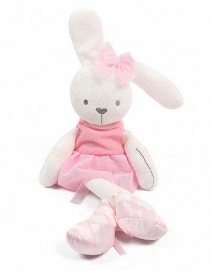 Мягкая игрушка зайчик-балерина розовый