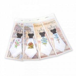 Подарочный женский носовой платок, 1 шт., 100% х/б