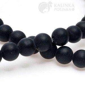 Бусины стеклянные черные матовые непрозрачные, без гранения, диаметр 8мм.