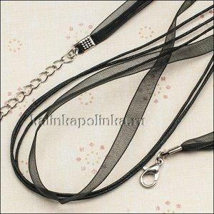 Основа для колье (3 шнура и лента), длина 44см + 5см цепочка, цвет черный