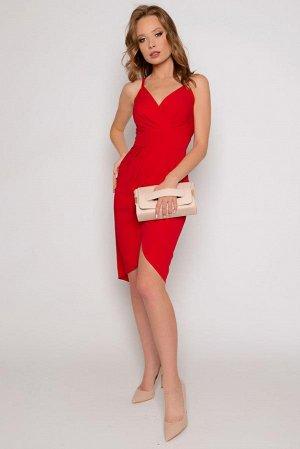 ПЛАТЬЕ Костюмная, тонкая, с небольшим стрейчевым эффектом (немного тянется). Цвет изделия: красный (яркий, насыщенный) Платье-сарафан на бретелях средней ширины с эффектным запАхом и оригинальными защ
