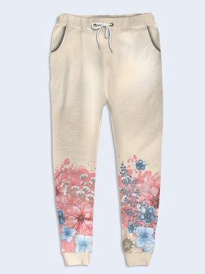 Брюки Голубые и розовые цветы