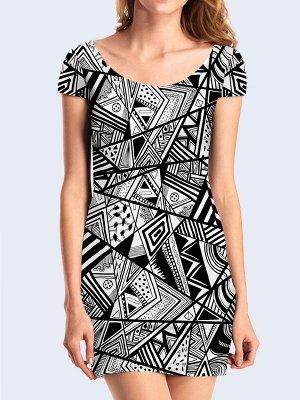 3D платье Чёрно-белая геометрия