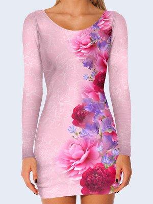 3D платье Пышные пионы