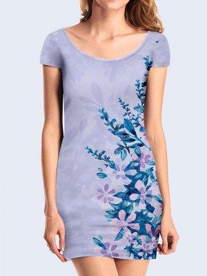 3D платье Нежные синие цветочки