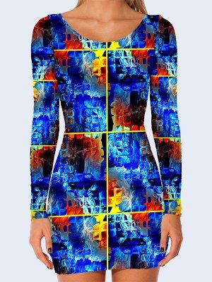 3D платье Синие квадратики