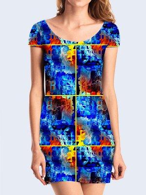 3D платье Синие квадраты