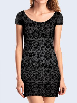 3D платье Чёрный винтажный орнамент
