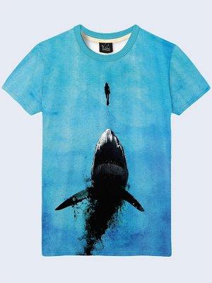 3D футболка Акула и девушка