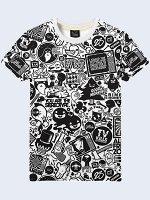 3D футболка Чёрно-белые стикеры