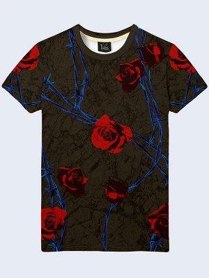 3D футболка Красные розы и проволока