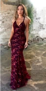 Платье в пол на тонких бретелях и с открытой спиной Цвет: БОРДО