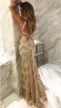 Платье в пол на тонких бретелях и с открытой спиной Цвет: АБРИКОС