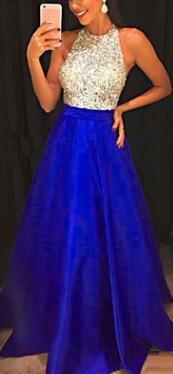Длинное платье без рукавов с топом расшитым пайетками и открытой спиной Цвет: СИНИЙ