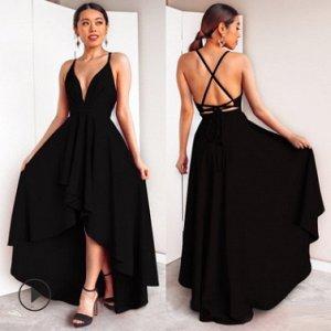 Длинное асимметричное платье без рукавов с открытой спиной и глубоким декольте Цвет: ЧЕРНЫЙ