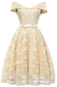 Кружевное платье с открытыми плечами и короткими рукавами Цвет: БЕЖЕВЫЙ