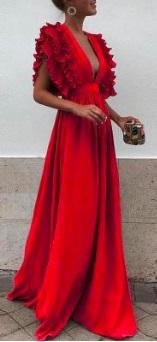 Длинное платье с завышенной талией и глубоким декольте Цвет: КРАСНЫЙ