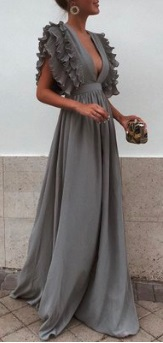 Длинное платье с завышенной талией и глубоким декольте Цвет: СЕРЫЙ