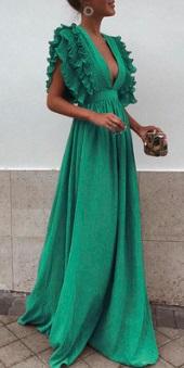 Длинное платье с завышенной талией и глубоким декольте Цвет: ЗЕЛЕНЫЙ