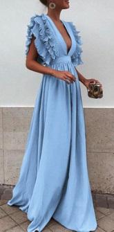 Длинное платье с завышенной талией и глубоким декольте Цвет: СВЕТЛО-СИНИЙ