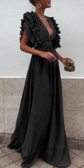 Длинное платье с завышенной талией и глубоким декольте Цвет: ЧЕРНЫЙ