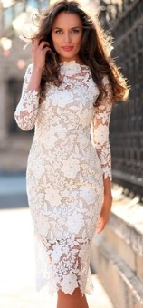 Кружевное платье с рукавами 3/4 Цвет: БЕЛЫЙ