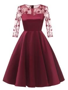 Платье с рукавами средней длины Цвет: БОРДО
