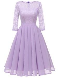 Комбинированное кружевом платье с рукавами средней длины Цвет: ФИОЛЕТОВЫЙ