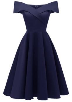 Платье с открытыми плечами Цвет: ТЕМНО-СИНИЙ