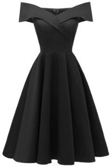 Платье с открытыми плечами Цвет: ЧЕРНЫЙ