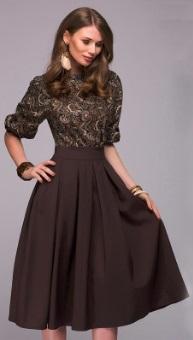 Платье-миди с короткими руавами Цвет: КОРИЧНЕВЫЙ