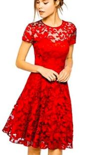 Кружевное платье с короткими рукавами Цвет: КРАСНЫЙ