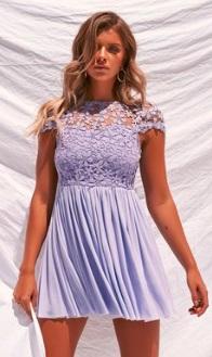 Мини-платье с завышенной талией и с короткими рукавами Цвет: ФИОЛЕТОВЫЙ