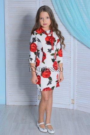 Платье Р.32-ОГ 32х2, ОТ 30х2, длина изделия от плеча 67 см  Яркое, нарядное трикотажное платье облегающего силуэта. Бусы входят в комплект к платью. Молния по спинке.
