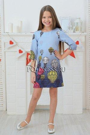 Платье Платье прямого силуэта принтом. Молния по спинке. *** Замеры платья: 34-ОГ 34х2, длина изделия от плеча 64 см 36-ОГ 35х2, длина изделия от плеча 67 см 38-ОГ 36х2, длина изделия от п