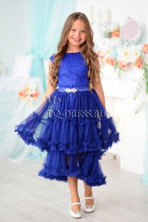 Платье нарядное со съемной юбкой цвет электрик