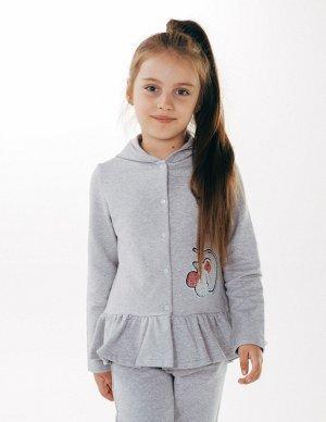Куртка с капюшоном для девочек серый