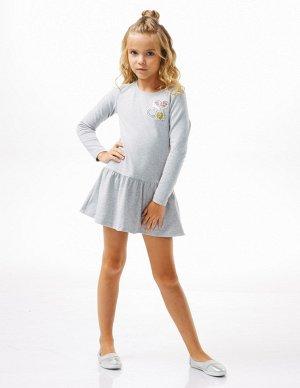 Платье для девочексерый меланж