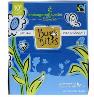 Endangered Species Chocolate, Bug Bites, натуральный молочный шоколад, 9.9 g